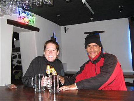 Me and Freddy toasting a good three days of hiking.  This was in Puppy´s Bar in Ollantaytambo.