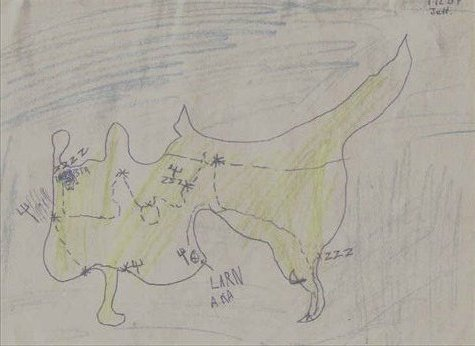 When we travel, Albert and Jett draw a map of each place and where we have been. This is Jett's map of Cyprus.