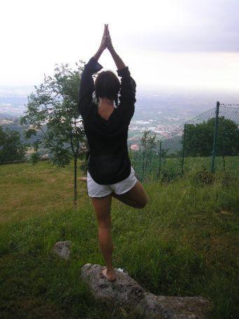 Half lotus balance with namaste hands over head... :)