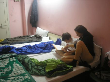 Before bed!! We photo documented our disciplined schedule to avoid being sued by any side of the family for negligence.