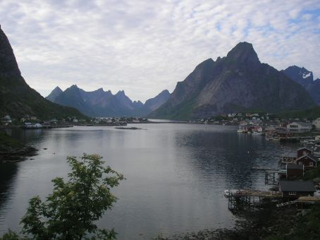 Reine. Charming village set at the base of jagged peaks.