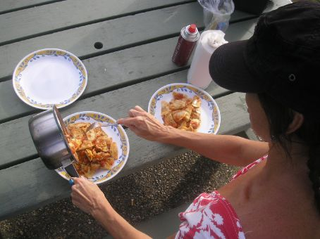 Cooking tip for campers! Fresh pasta, pre made sauce - voila! gorgeous lunch in less than 6 minutes!