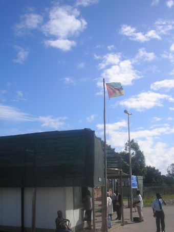 The border crossing. South Africa one the other side.