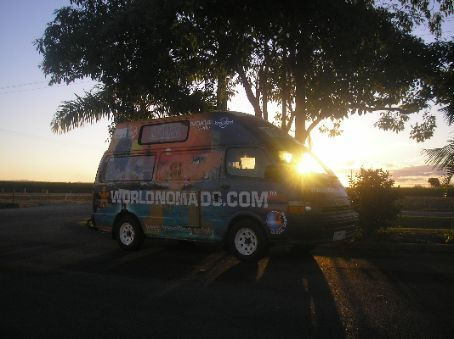 At the Ingham Catholic cemetary. The sun was hitting the horizon and doing its 'pretty' thing. I think it suits the van.