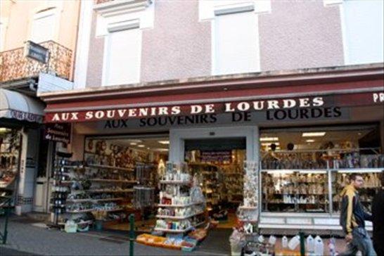 Tacky souvenir shops, Lourdes