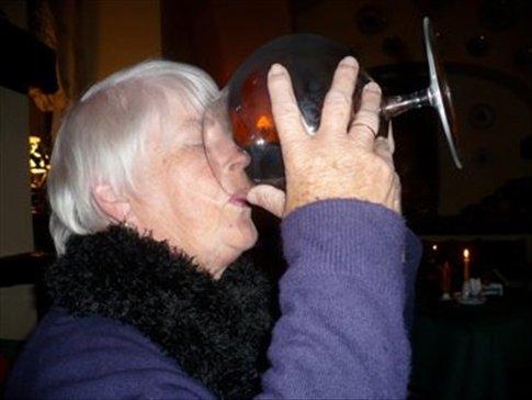 Even granny had a go, notice closed eyes!