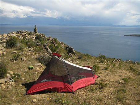 Our first campsite on Isla del Sol.