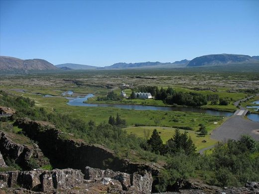 View of Thingvellir: the opposing mountain/cliffs are the two separate plates