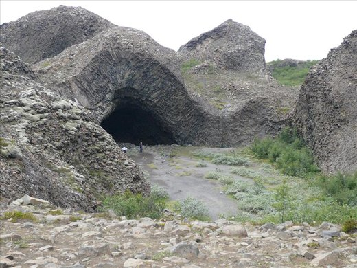The lava cave, formed when lava flowed over sand, then the sand eroded away