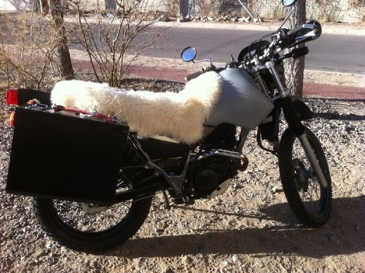 Bike all loaded and ready to go! Sheepskin trimmed on exhaust-side of bike, and held down with two bungee cords (hidden by deep, cushiony  wool)