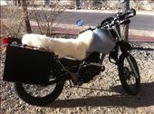 Bike all loaded and ready to go! Sheepskin trimmed on exhaust-side of bike, and held down with two bungee cords (hidden by deep, cushiony  wool): by alpiner84, Views[3700]