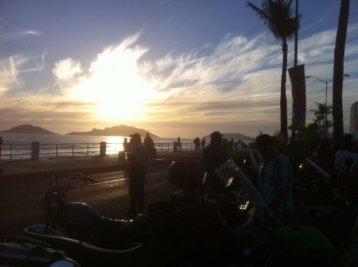 Sunset over the motorcycle parade
