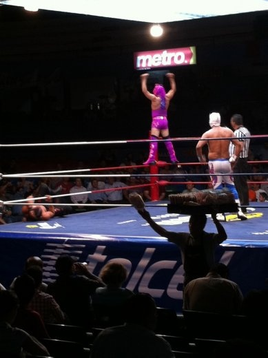 My favorite luchador of the night. This guy was seriously acrobatic! And you have to love the magenta hot pants.