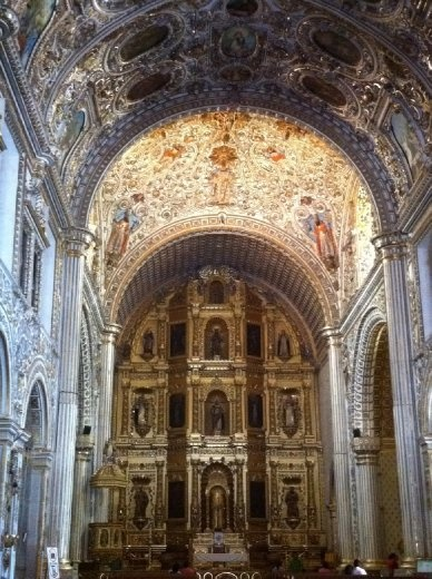 The interior of Santo Domingo, one of the most jaw-dropping gilt jobs I've ever seen.