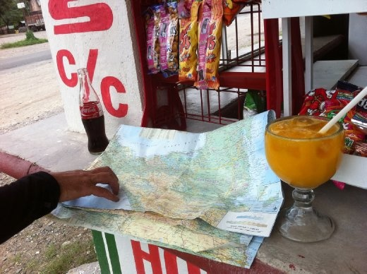 After encountering a strike on the main road, Patrick and I had to check the map to see where on earth we were. Fortunately they served fresh-squeezed mango juice in fish-bowl margarita glasses!