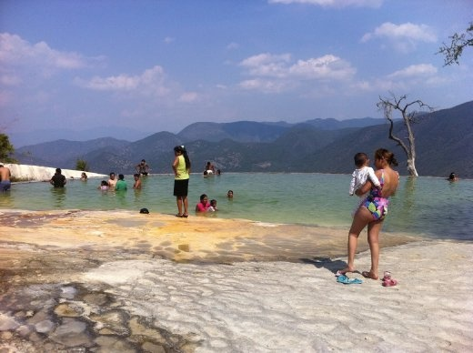 A view of the natural bathing pool of cold water at Hierve el Agua. I apologize to the random Mexican models appearing in my blog photo, but you're just so colorful I couldn't help myself!