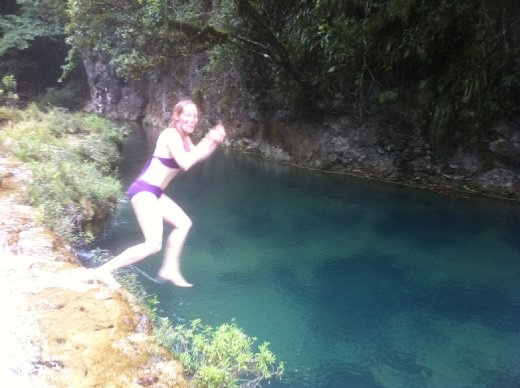 My friend Rebeka jumping into the topmost pool.