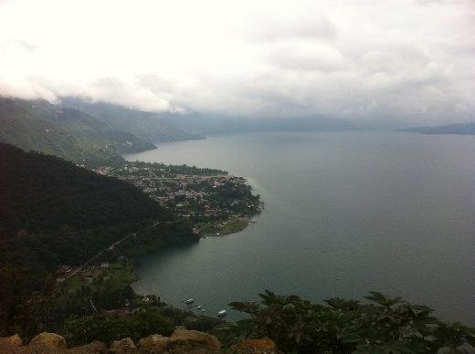 The view of Lago Atitlan on a rainy day.
