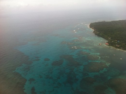 Aerial view of Big Corn Island's waters.