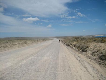 Biking through the pampas outside of Puerto Madryn.