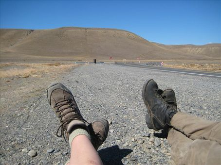 Waiting for a ride at the start of Ruta 40