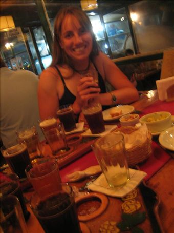 The 9-beer sampler platter at the El Bolson brewery. That's two liters of beer to