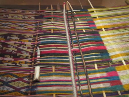 Upclose shot of intricate weavings in Sucre.
