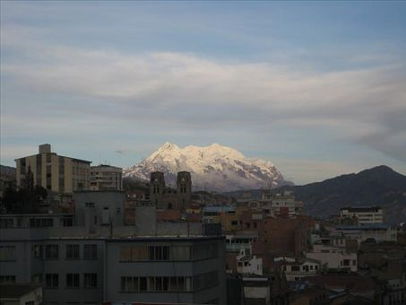 The view of Mount Illimani, a 6,000+ m peak in the background of La Paz, capìtal of Bolivia at 11,942 feet.