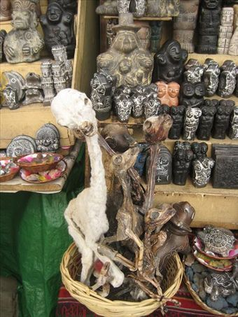 Typical street stand in the Witches Market in La Paz. Visible here are totems, secret potions, and, of course, your dried llama fetuses (for good luck).
