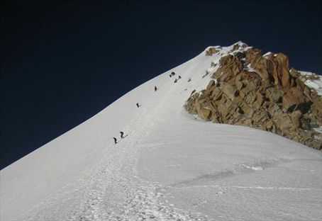 Looking back up at the summit. This picture does not do the 65º slope justice. It looked absolutely insane in person.