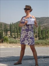 Trying to hitchhike in Halkidiki. Notice how I actually wrote the name of the city in Greece. Wow!: by alysandjess, Views[415]