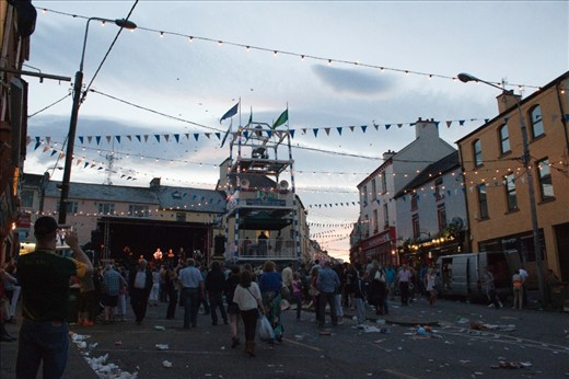 As evening settles in Killorglin, the families head home, the vendors pack up and only litter remains as evidence of the day's activities. But not to waste a perfect summer's night, preparations begin for the evening festivities.
