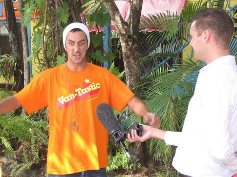 Adam getting into his interview with Channel 7