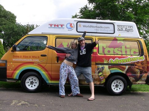 Tim Ackroyd - the Van-Tastic Victoria winner, with Geoff the van & friend Em