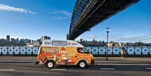 Geoff the van-tastic van takes it's first spin under the Sydney Harbour Bridge