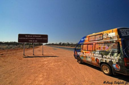 Starting the 90 mile straight - the longest straight stretch of road in Australia