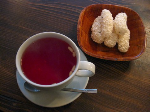 Delicious Omija-cha and light rice-cake snacks in one of the many traditional tea houses in Insadong, Seoul.