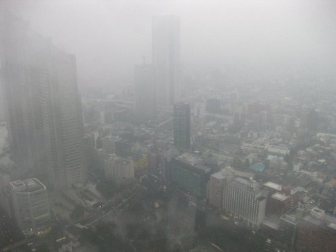 My first assignment was to cover a free audio tour in the Tokyo Metropolitan Government Building... this was my rainy-day view.