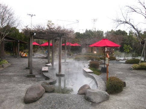 Outdoor foot baths at the Oedo-Onsen