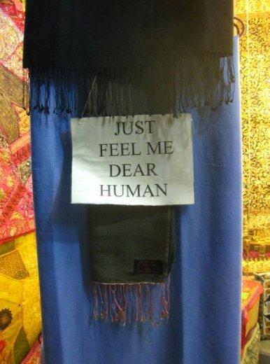 'Just feel me dear human' I like the way this pashmina speaks to me... Pokhara, Nepal