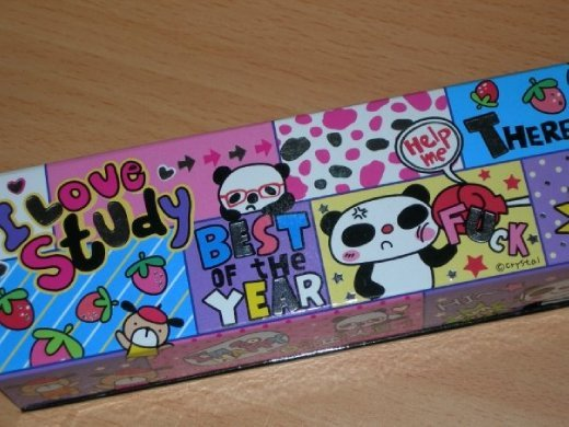 This pencil case belongs to another student. Look at what the panda getting punched is saying....