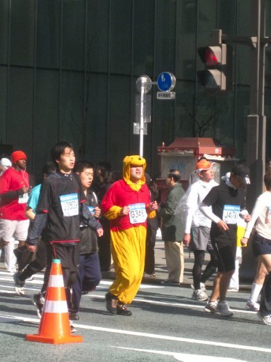 Pooh Bear runs in the Tokyo Marathon, Feb 8th 2010