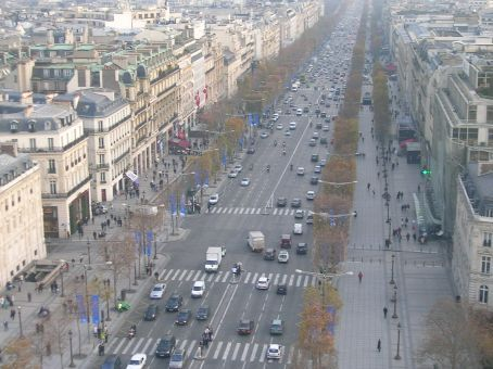 view of champs elysees from the top of the arc de triomphe