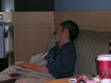 stranger sleeping in starbucks