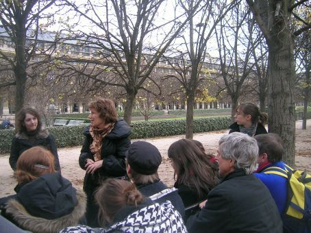 our group getting a lecture in the palais royal gardens