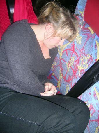 sleeping on the bus