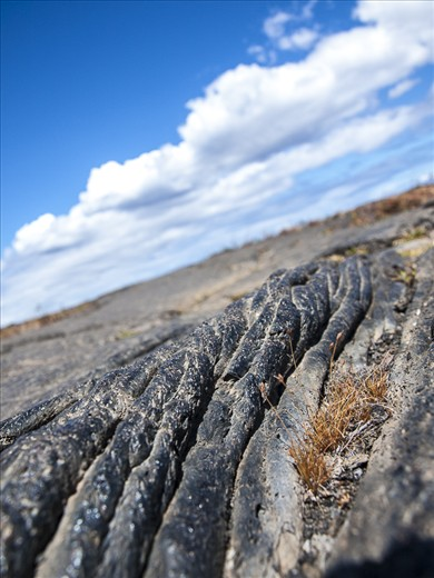Pahoehoe: A Hawaiian word geologists adopted to describe this type lava flow.