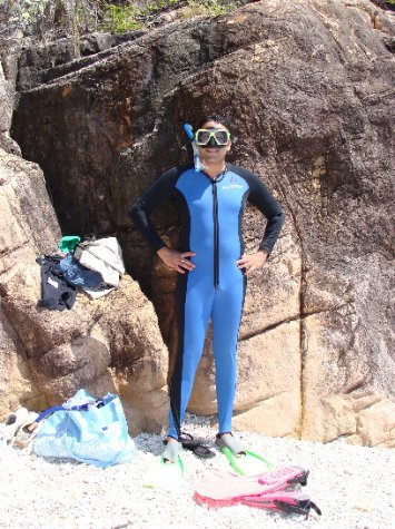 The sexy stinger suits required for snorkelling during peak stinger (jellyfish) season.