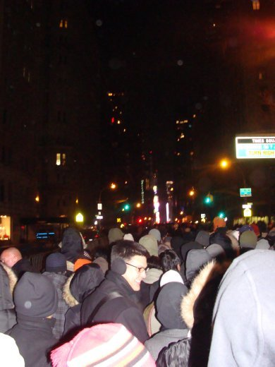 Times Square crowds, New Year's Eve, yes that's the ball in the distance!