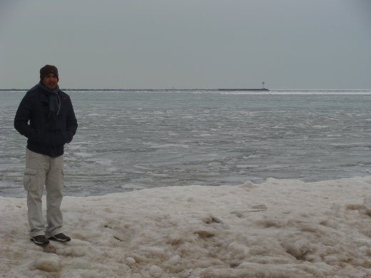 Ice build up on the edge of Lake Michigan - this is a beach in the summer!